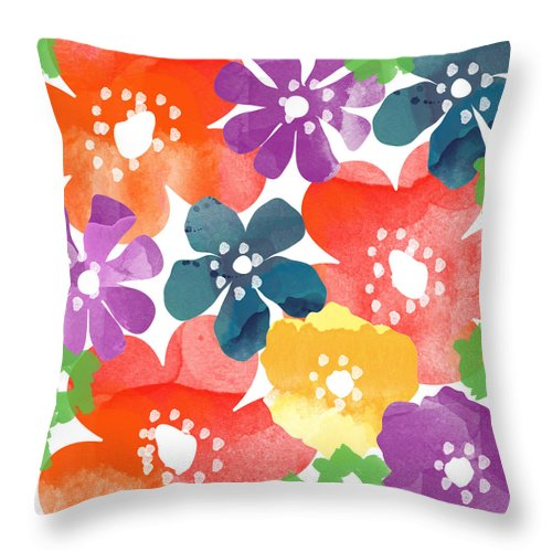 Flowers Throw Pillow featuring the painting Big Bright Flowers by Linda Woods