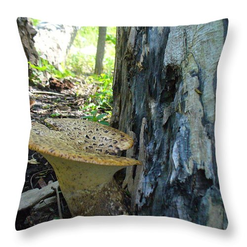 Toadstool Throw Pillow featuring the photograph Big Brother Toadstool by Peggy King
