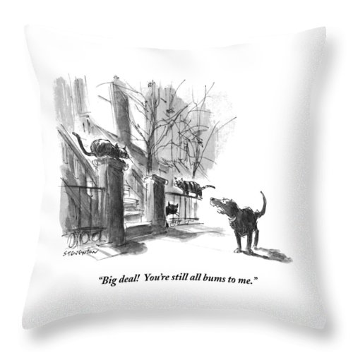 """big Deal! You're Still All Bums To Me."" Throw Pillow featuring the drawing Big Deal by James Stevenson"