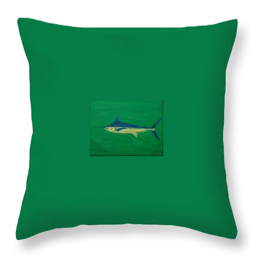 Blue Marlin Throw Pillow featuring the painting Big Fish by Angela Miles Varnado