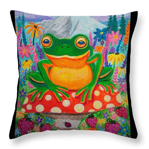 Frog Throw Pillow featuring the painting Big Green Frog On Red Mushroom by Nick Gustafson