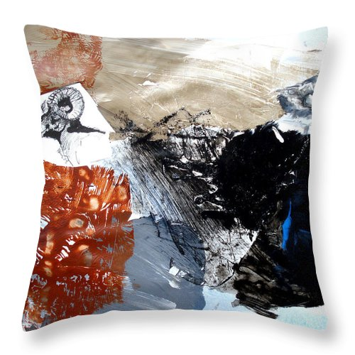 Wildlife Abstract Throw Pillow featuring the painting Big Horn At Home by Paul Miller