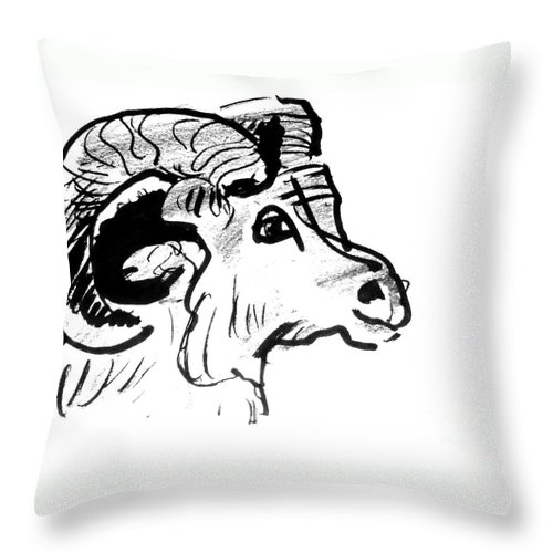 Big Horn Sheep Throw Pillow featuring the drawing Big Horn Sheep Sketch by Paul Miller