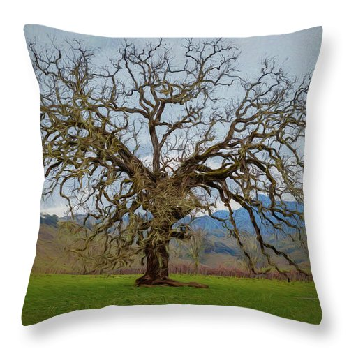 Tree Throw Pillow featuring the painting Big Oak by Mike Penney