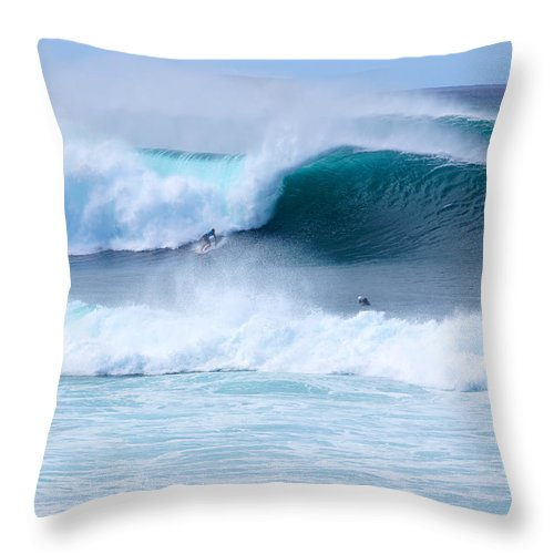 Surfing Throw Pillow featuring the photograph Big Pipeline Pro by Kevin Smith