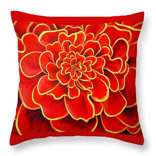 Diptych Throw Pillow featuring the painting Big Red Flower by Geoff Greene