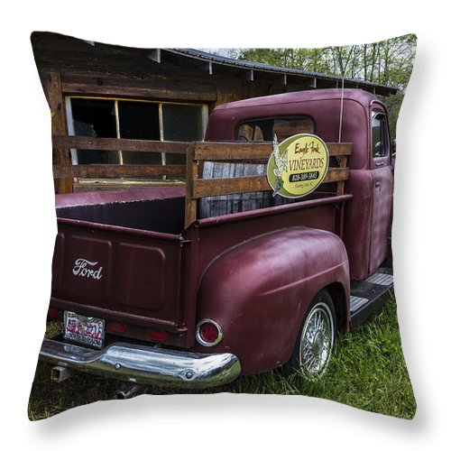 1950 Throw Pillow featuring the photograph Big Red Ford Truck by Debra and Dave Vanderlaan