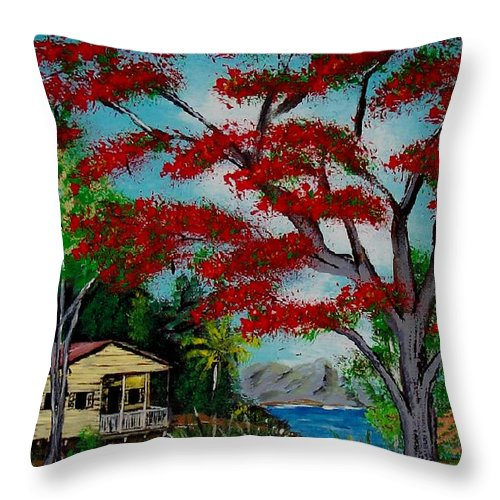 Flamboyant Tree Throw Pillow featuring the painting Big Red by Luis F Rodriguez