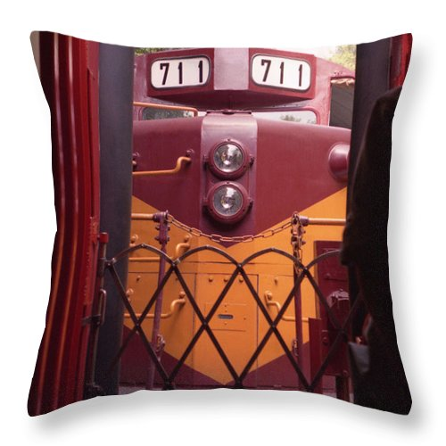 Trains Throw Pillow featuring the photograph Big Red by Richard Rizzo