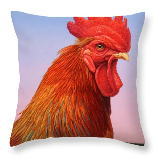 Rooster Throw Pillow featuring the painting Big Red Rooster by James W Johnson