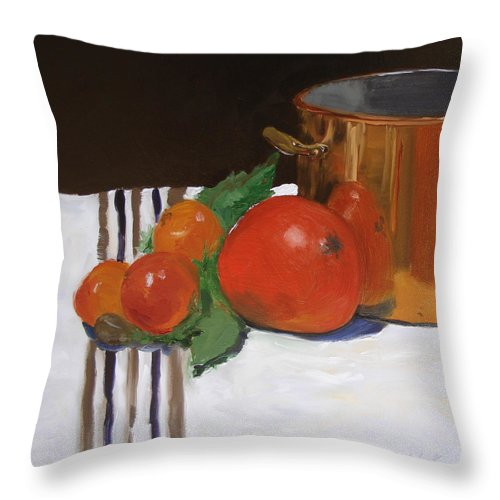 Still Life Throw Pillow featuring the painting Big Red Tomato by Barbara Andolsek