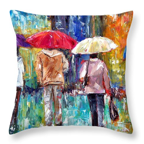 Rain Throw Pillow featuring the painting Big Red Umbrella by Debra Hurd