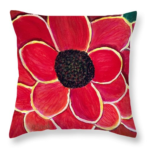 Red Flower Throw Pillow featuring the painting Big Red Zinnia Flower by Anne Sands