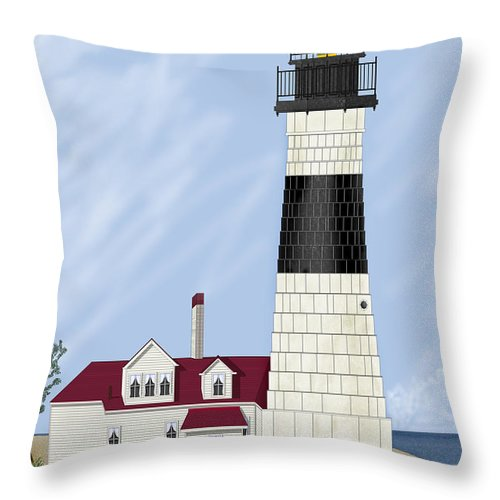 Big Sable Michigan Lighthouse Throw Pillow featuring the painting Big Sable Michigan by Anne Norskog