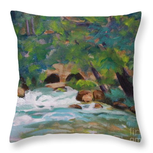 Impressionistic Throw Pillow featuring the painting Big Spring On The Current River by Jan Bennicoff