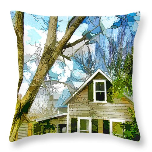Big Throw Pillow featuring the painting Big Tree Standing Tall In The Front Yard by Jeelan Clark