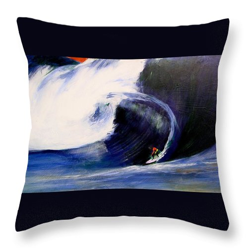 Surf Throw Pillow featuring the painting Big Tunnel Dharma by Paul Miller