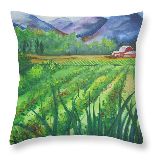 Landscape Throw Pillow featuring the painting Big Valley Farm by Karen Stark