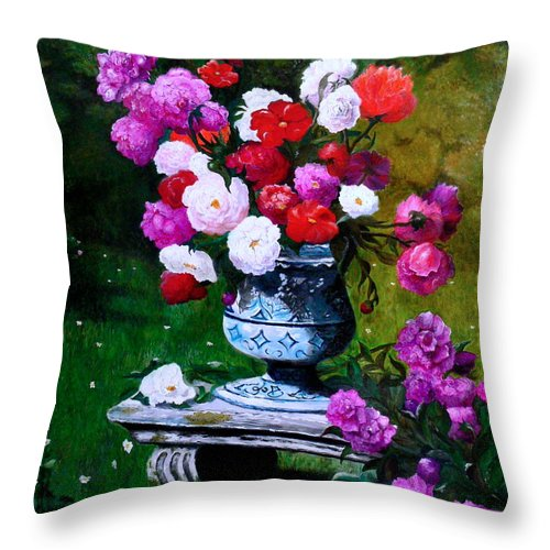Stilllife Throw Pillow featuring the painting Big Vase With Peonies by Helmut Rottler