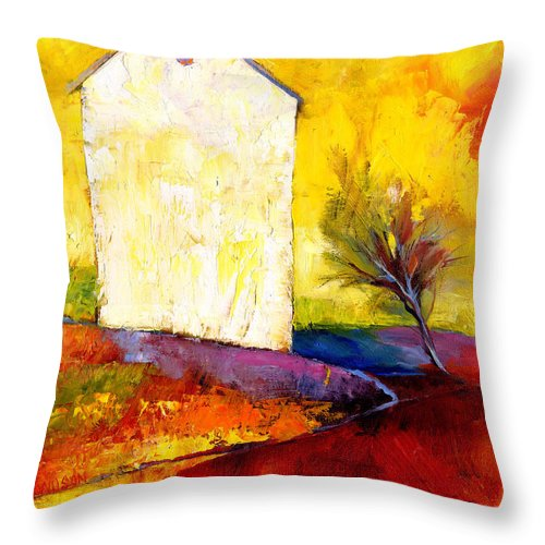 House Throw Pillow featuring the painting Big White House by Peggy Wilson
