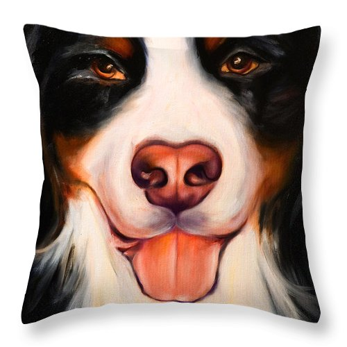 Dog Throw Pillow featuring the painting Big Willie by Shannon Grissom