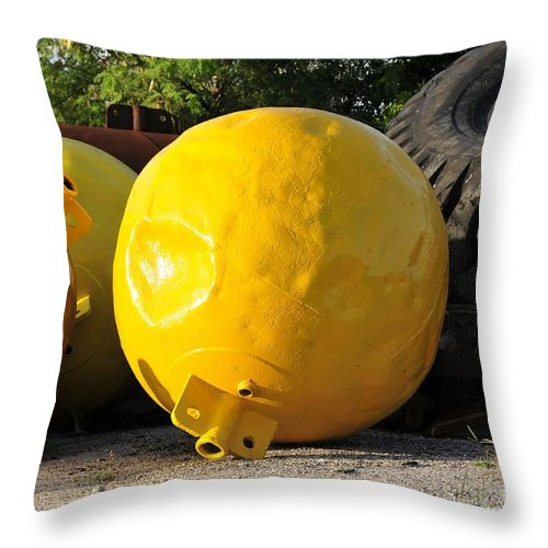 Yellow Throw Pillow featuring the photograph Big Yellow Balls by David Lee Thompson