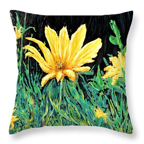 Flower Throw Pillow featuring the painting Big Yellow by Ian MacDonald