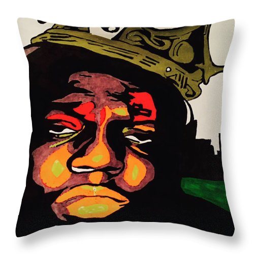 Biggie Smalls Rap Artist Throw Pillow featuring the painting Biggie by John Rizzo