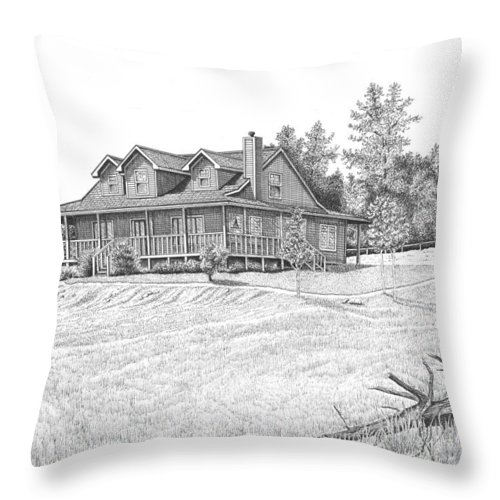 Home Throw Pillow featuring the drawing Bigness House by Lawrence Tripoli