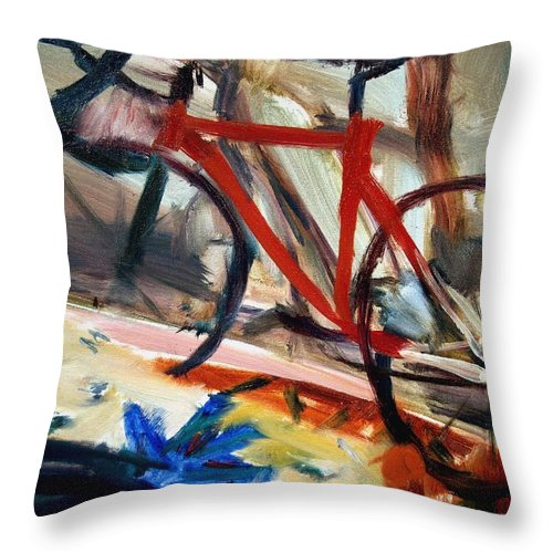 Dornberg Throw Pillow featuring the painting Bike In The Bedroom by Bob Dornberg