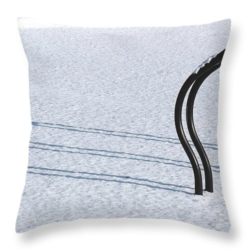 Bicycle Rack Throw Pillow featuring the photograph Bike Racks In Snow by Steve Somerville