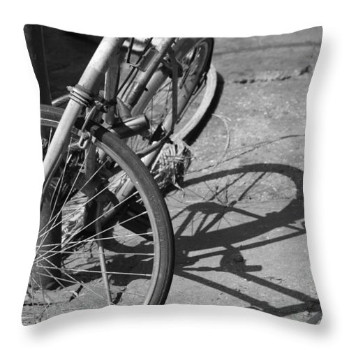 Bike Throw Pillow featuring the photograph Bike Shadow by Lauri Novak