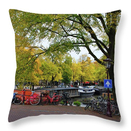 Bike Throw Pillow featuring the photograph Bike To Boat by Jost Houk