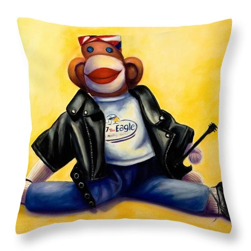 Sock Monkey Brown Throw Pillow featuring the painting Biker Dude Made Of Sockies by Shannon Grissom