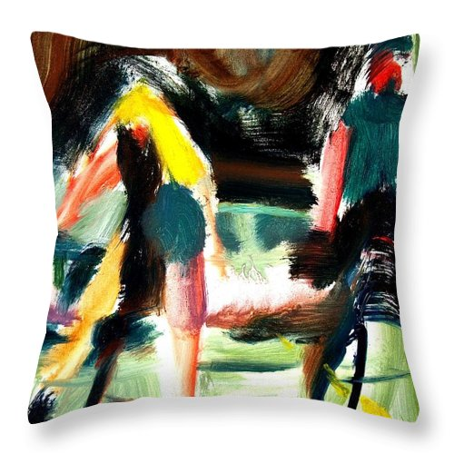 Dornberg Throw Pillow featuring the painting Bikers Along The Highway by Bob Dornberg