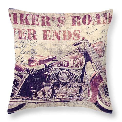 Mancave Throw Pillow featuring the painting Biker's Road Never Ends by Mindy Sommers