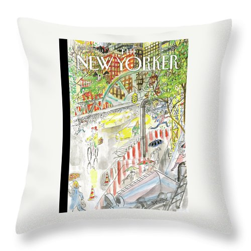 Biking In The Rain Throw Pillow featuring the painting Biking In The Rain by Jean-Jacques Sempe