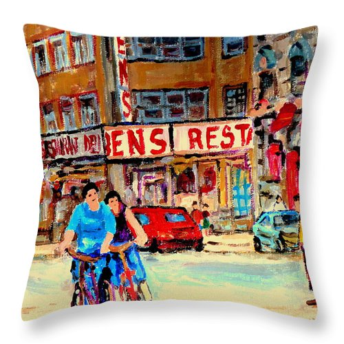 Montreal Throw Pillow featuring the painting Biking Past Ben by Carole Spandau
