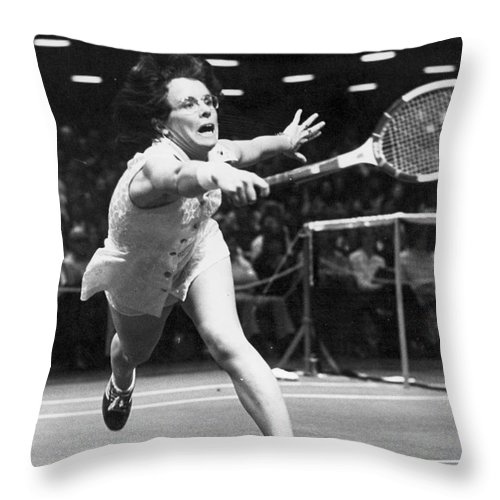 1974 Throw Pillow featuring the photograph Billie Jean King by Granger