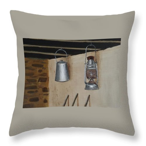 Billy Can Throw Pillow featuring the painting Billy Can And Oil Lamp by Tony Gunning