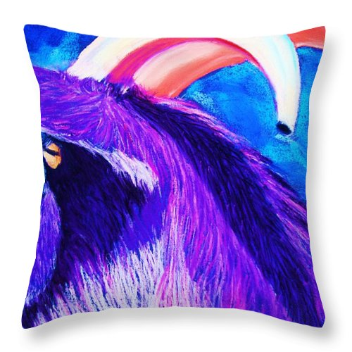 Goat Throw Pillow featuring the pastel Billy The Kid by Melinda Etzold