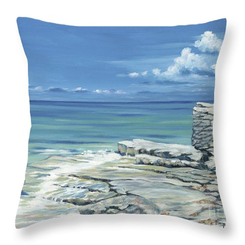 Bimini Throw Pillow featuring the painting Bimini Blues by Danielle Perry