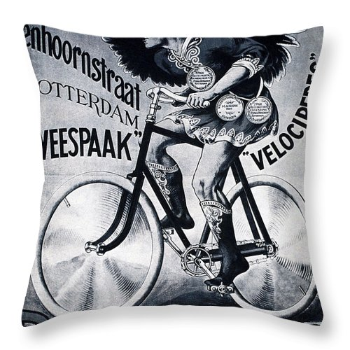 Vintage Throw Pillow featuring the mixed media Bingham And Co - Bicycle - Vintage Dutch Advertising Poster by Studio Grafiikka