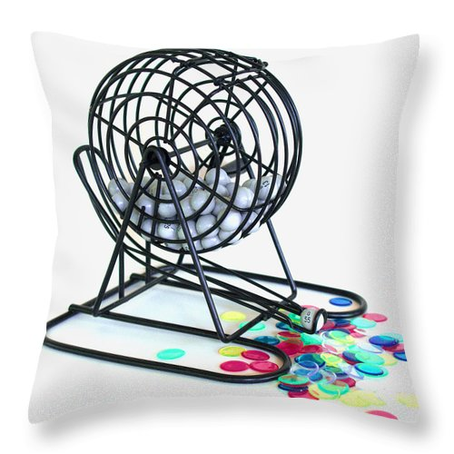 Bingo; Ball; Keno; Balls; Random; Cage; Rotate; Rotating; Drawn; Draw; Caller; Cheat; Cheating; Card Throw Pillow featuring the photograph Bingo Cage by Allan Hughes
