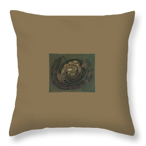 Throw Pillow featuring the painting Biostructural Object by Denisa Valasekova