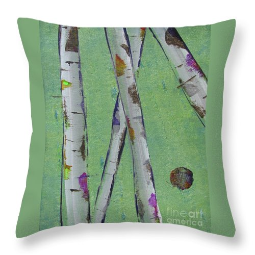 Abstract Throw Pillow featuring the painting Birch - Lt. Green 2 by Jacqueline Athmann