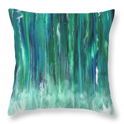 Canoe Throw Pillow featuring the painting Birch Canoe At Waterfall by Gary Smith