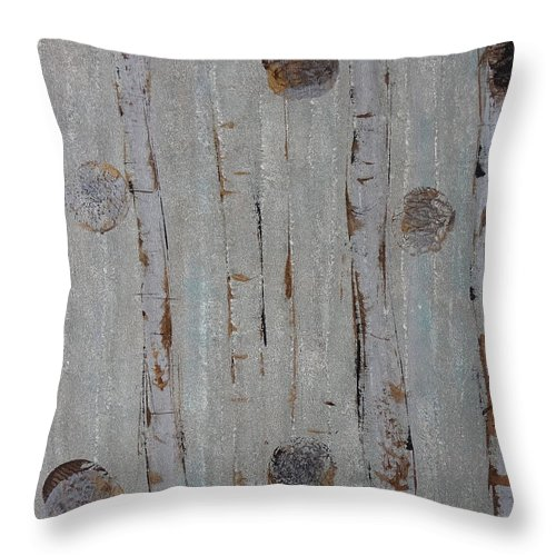 Land Throw Pillow featuring the painting Birch - Fog 2 by Jacqueline Athmann