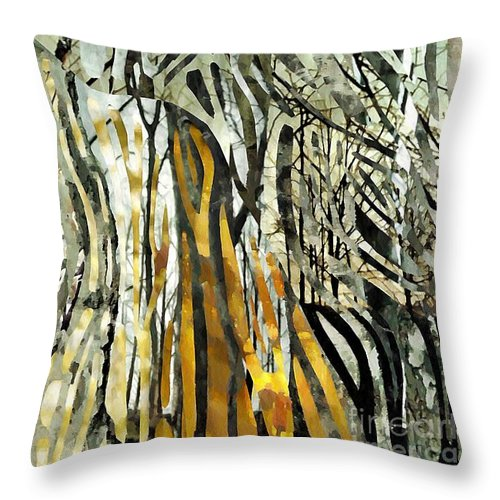 Birch Trees Throw Pillow featuring the mixed media Birch Forest by Sarah Loft