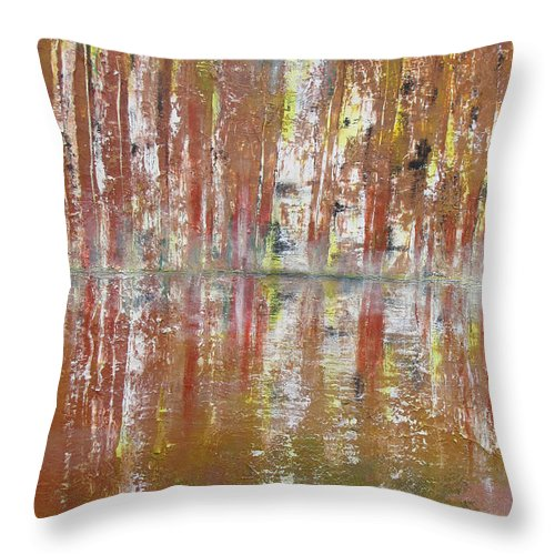 Birch Throw Pillow featuring the painting Birch In Abstract by Gary Smith